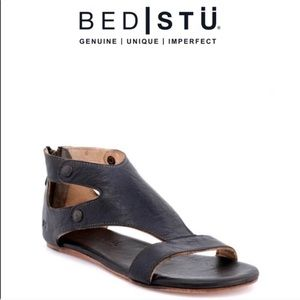 NWT BED STU Soto Leather Cutout Back-Zip Sandals